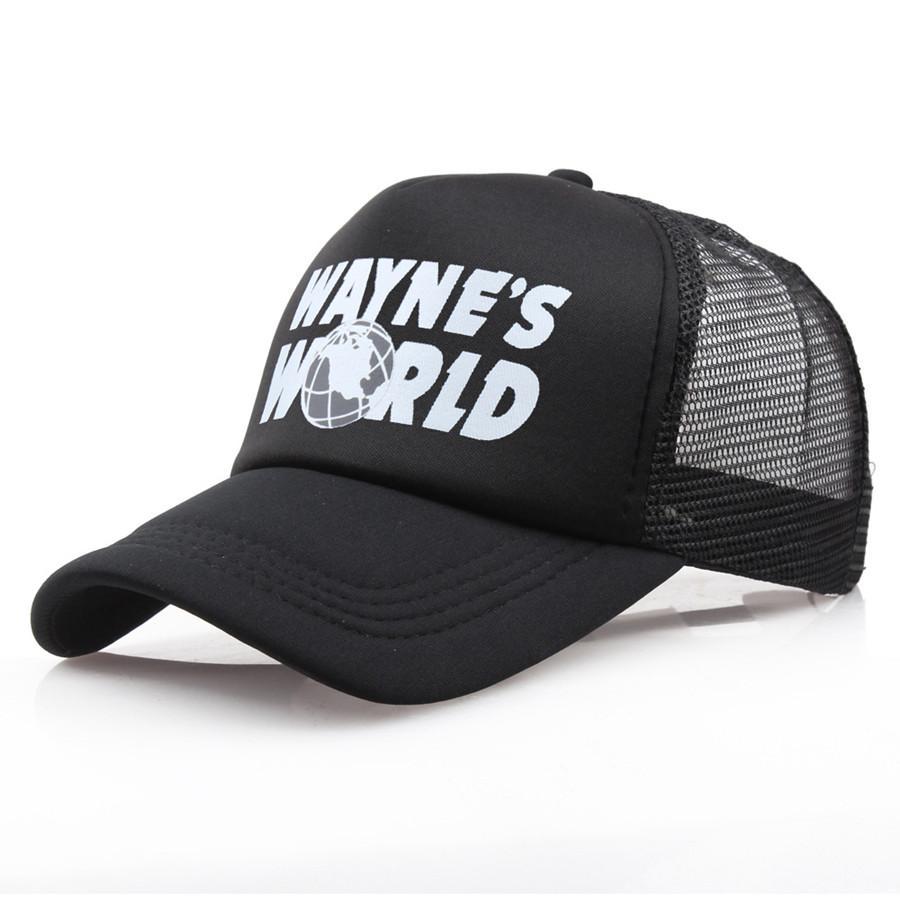 Toptan Siyah Waynes Dünya Beyzbol Unisex Hip Hop Şapka Sunhat Wayne'in Dünyası Hat Kostüm İşlemeli Mesh Şapka Trucker baba Caps