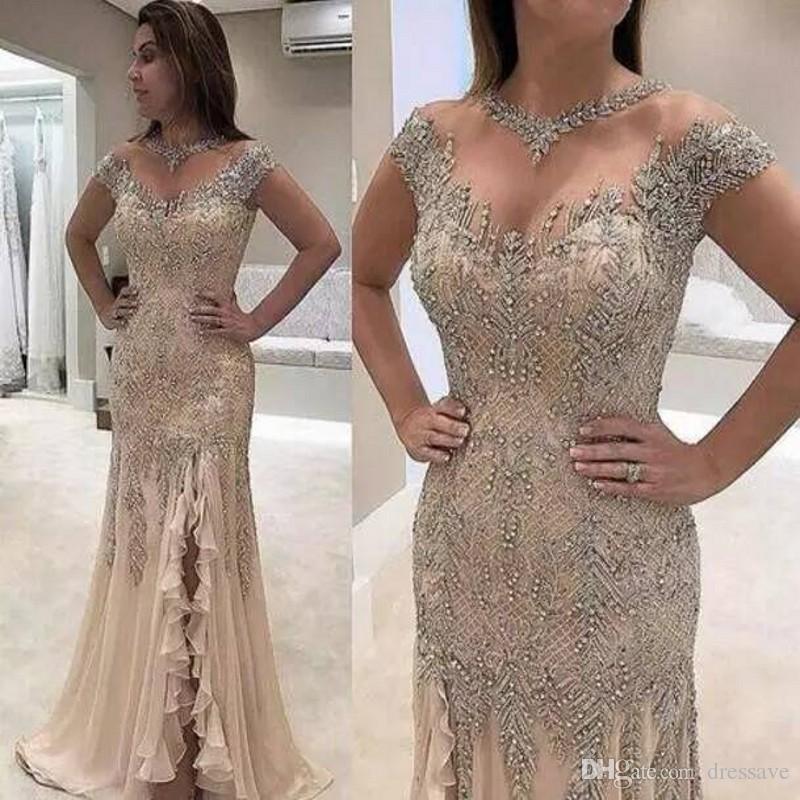 Sirena vestidos de noche 2020 más el tamaño de rebordear lentejuelas lado alto de Split madre elegante de los vestidos de novia vestidos de fiesta por la noche