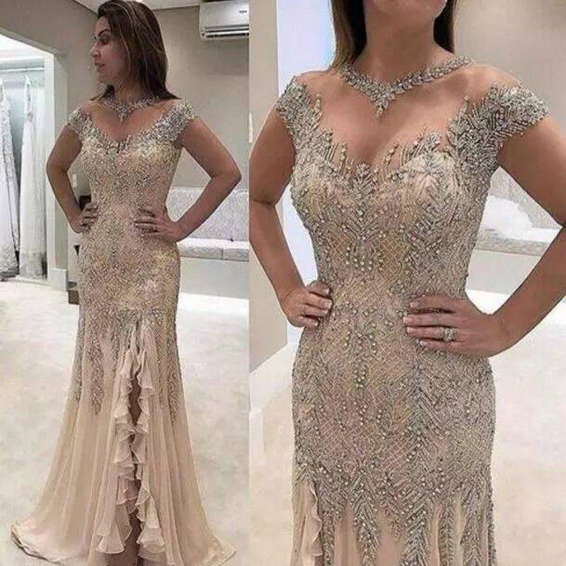 Mermaid Abendkleider 2020 Plus Size Perlen verziert mit Pailletten High Side Split Elegante Mutter der Braut-Kleid-Abend-Partei-Kleider