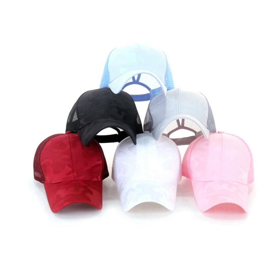 Camouflage Ponytail Baseball Cap Solid Color Breathable Sun Hat Mesh Caps Unisex Outdoor Sports Hats Light Color Printing 60pcs JLLP45-1