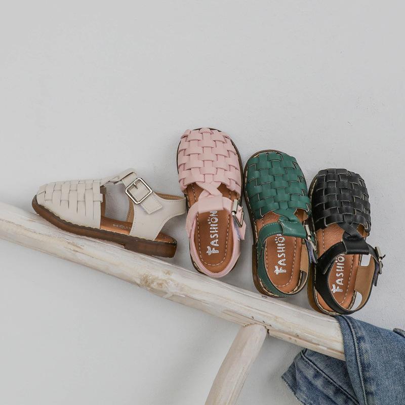 Kız Çocuk Bebek Daire Kız Sandalet Yaz Çocuk Ayakkabıları D01254 için yeni Vintange Dokuma Katı Kız Sandalet Kapalı Burun Sandalet