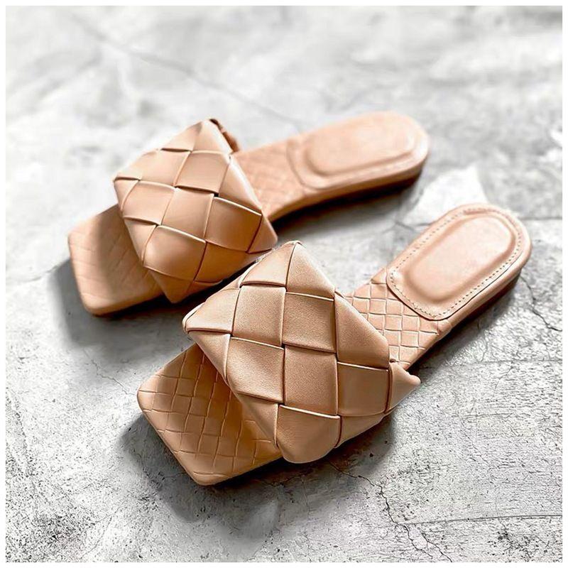 2020 neue Marke Hausschuhe Weben Leder Frauen Sandale offene Spitze Flache Casual Dias Sommer Outdoor Strand Weibliche Flip Flops K780G