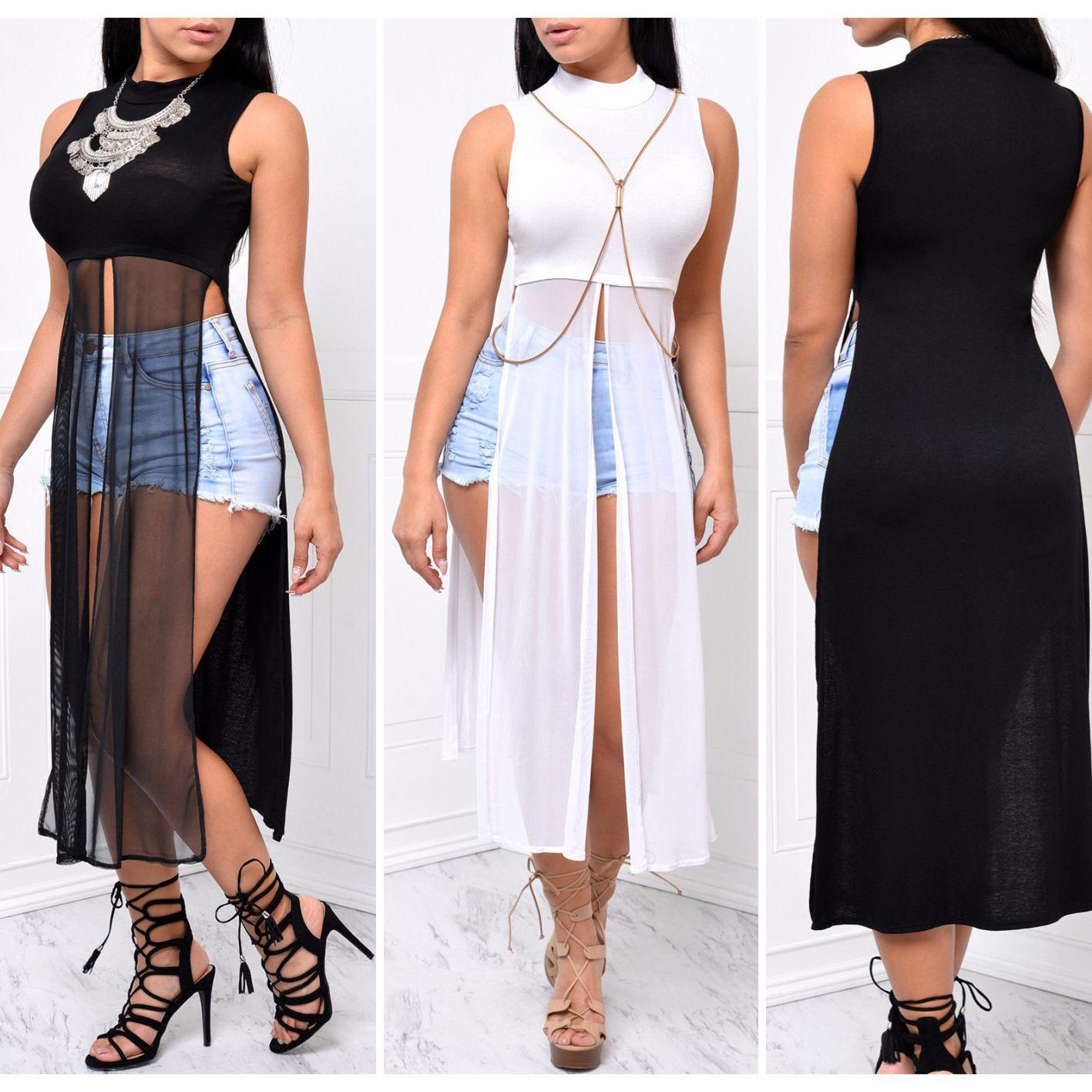 Seksi Yüksek Bölünmüş Midi Elbiseler Kadın Örgü Patchwork Katı Kolsuz Yüksek Bel Sheer Sokak İmparatorluğu Bel Kazak Sokak Elbiseler