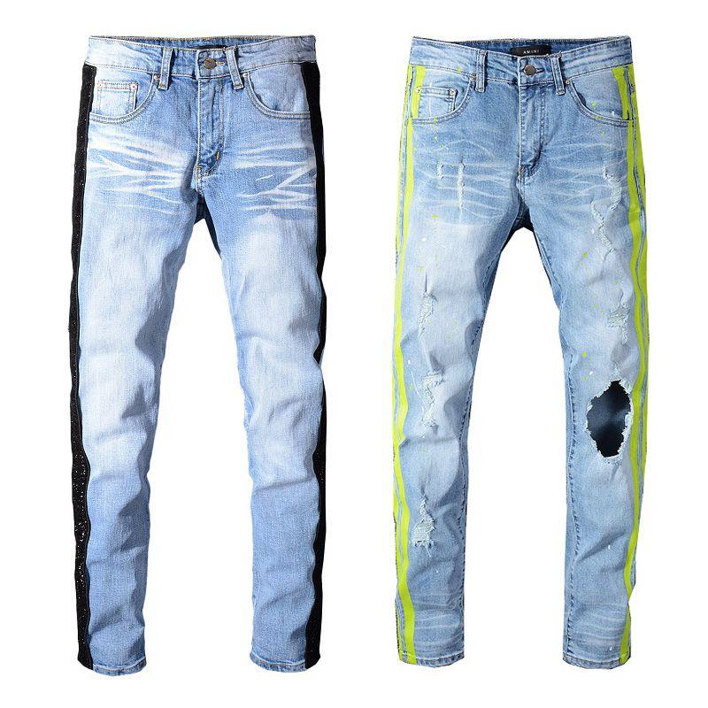 Sneakers MIRI Wholesale Blue Pants Jeans Designer 350 Pants Straight Biker Skinny Loophole Jeans Men Women hole jeans