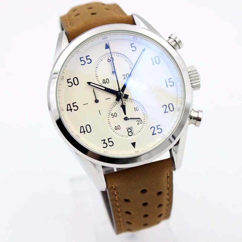 классический стиль новый ARRIVALCalibre SpaceX Chrono Flyback секундомер белый циферблат коричневый кожаный ремень мужские часы спортивные мужские часы VK хронограф