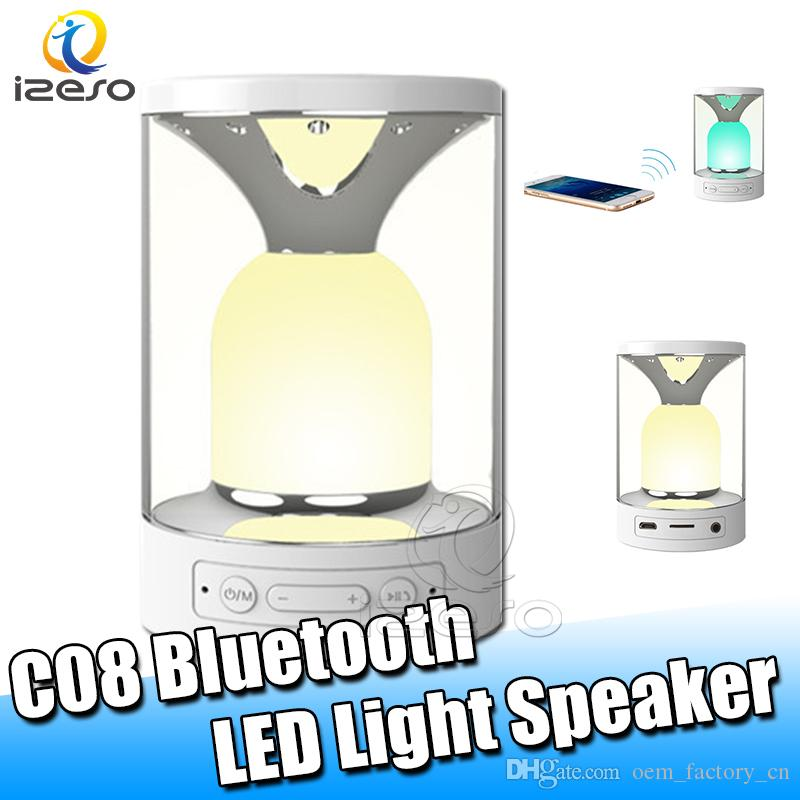 C08 Smart Bluetooth Speaker Music Surround Sound System Desktop Outdoor Speakers with LED Light Button Speaker Support TF Card USB izeso
