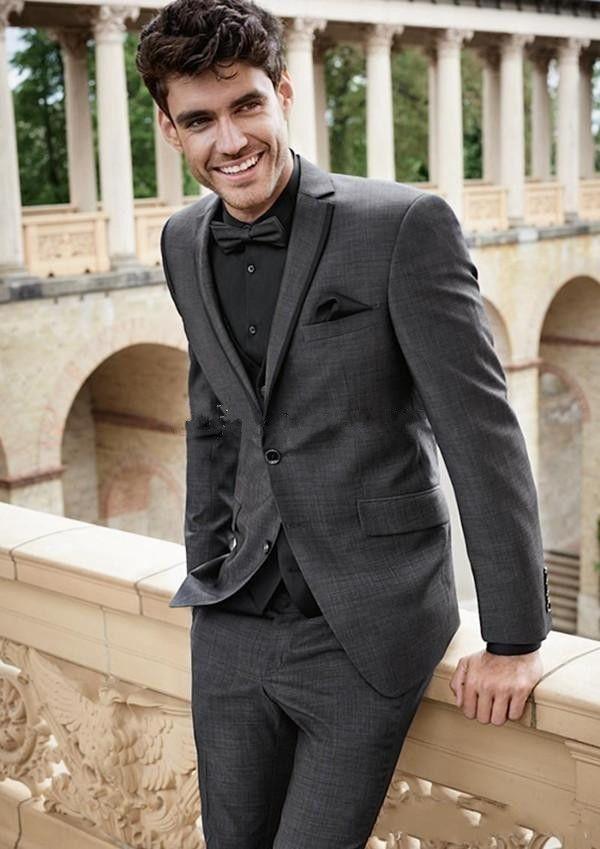 새로운 스타일 두 버튼 짙은 회색 웨딩 신랑 턱시도 노치 옷깃 신랑 맨 남성용 복장 프로모션 블레이져 (자켓 + 바지 + 조끼 + 타이) 144