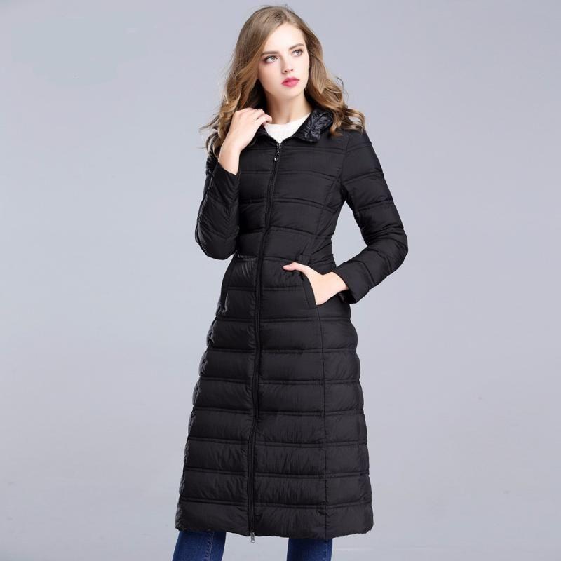 2020 New Winter Down Coat Women 90% White Duck Down Jacket Hooded Thin Outerwear Long Parkas Warm Coats DMZ3703