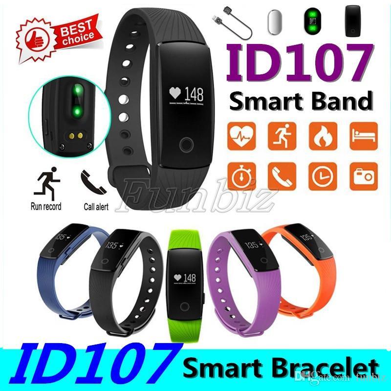 ID 107 Smart Wristband ID107 Watch Heart Rate Monitor Smart Bracelet Bluetooth Smart Band Bracelet Pedometer Fitness SmartBand