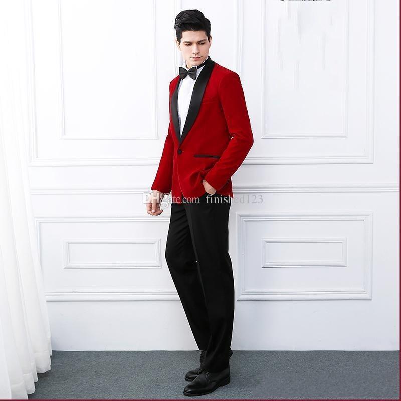 Последний дизайн одна кнопка Красный бархат свадьба жених смокинги Шаль лацкане женихи мужчины костюмы Пром блейзер (куртка+брюки+галстук) нет: 2079