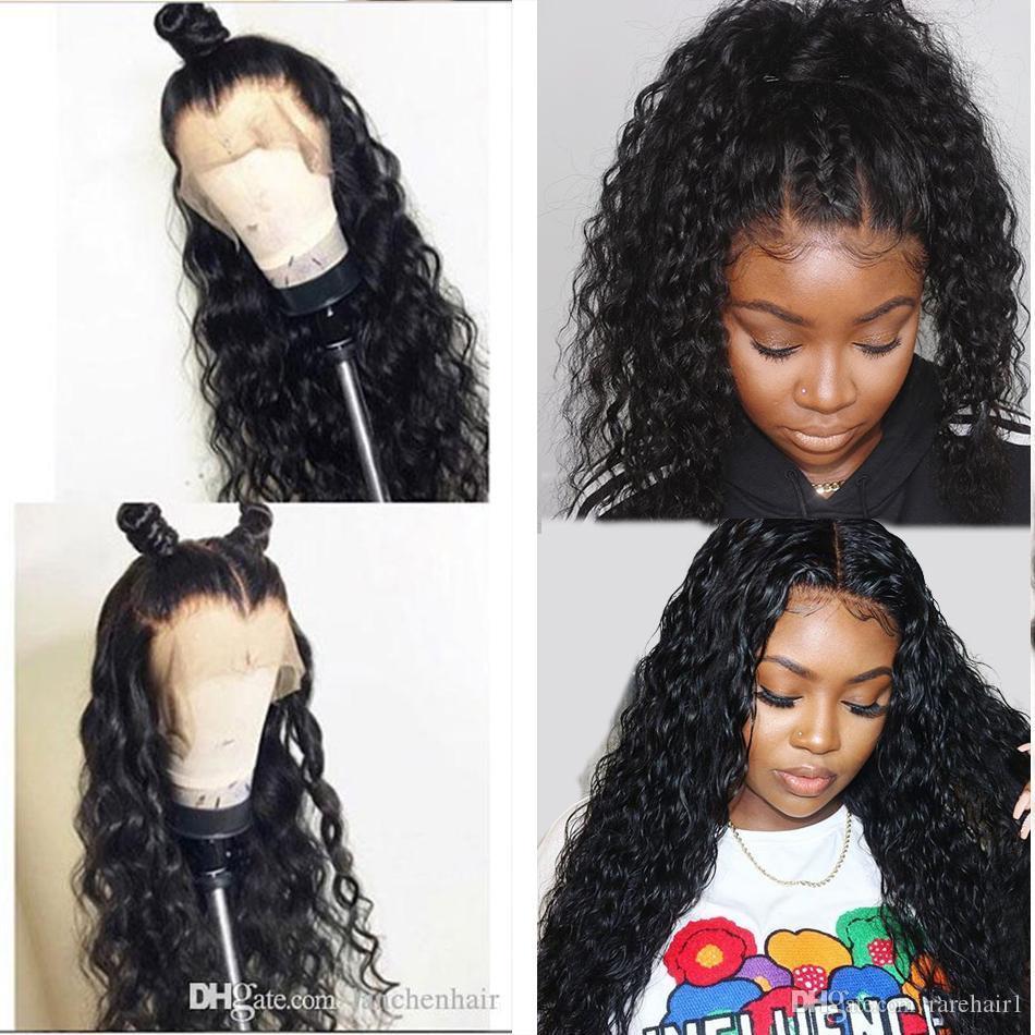 Dantel Ön İnsan Saç Peruk 13 * 4 Tam Dantel Peruk Doğal Dalga Su Dalga Öncesi Mızraplı Doğal Satine Bebek Saç İçin Siyah Kadın Tiffanyhair
