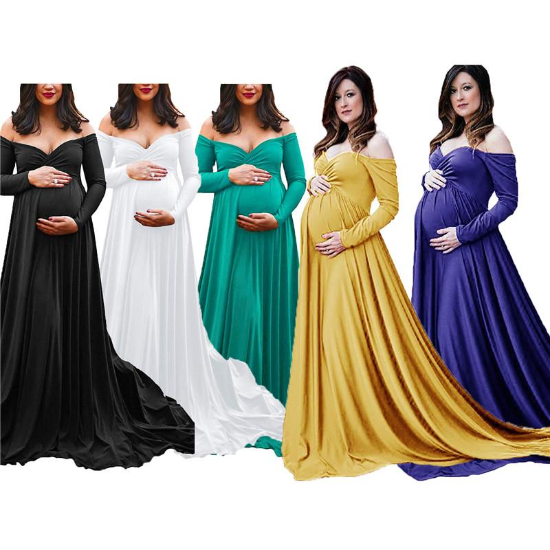 Schwangere Frauen Designer-Kleider Art und Weise V-Ausschnitt Langarm Off-Schulter Maxikleider Schwangere Mutter Abendkleider