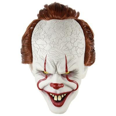 Silicone Movie Stephen King's It 2 Joker Pennywise Mask Full Face Horror Clown Latex Mask Halloween Party Horrible Cosplay Prop Mask