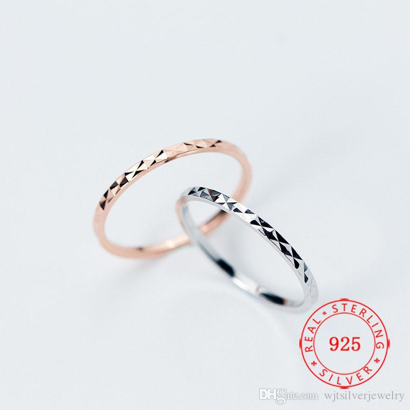 Alta calidad genuina delgado anillo mujeres 925 plata esterlina sencilla Gypsophila estampada s925 regalo de la joyería de China por mayor de las niñas