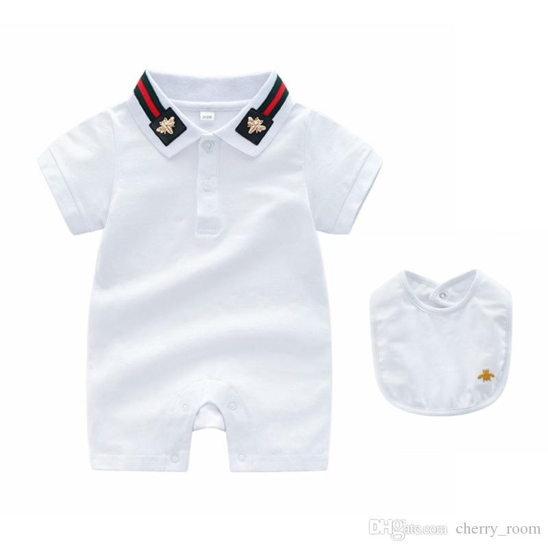 Yaz Bebek Kız Karikatür Romper giysi tasarımcısı çocuk giysileri Bebek Şerit Arı Yaka Tulum Moda Kısa Kollu Yenidoğan Onesie Y2553