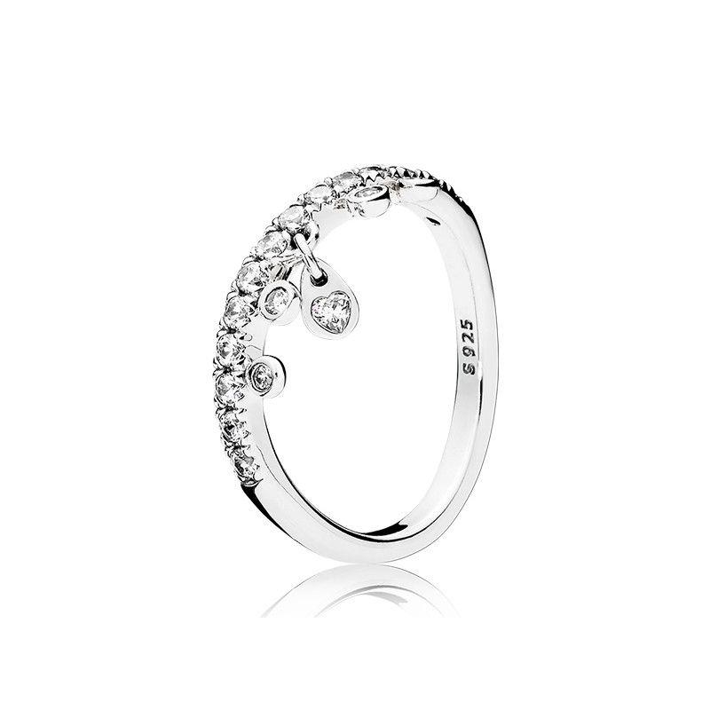 قلادة قطرة الماء تشيكوسلوفاكيا الماس الدائري ل باندورا 925 الفضة الاسترليني جودة عالية المرأة خاتم الزواج الأصلي مربع مجموعة شحن مجاني