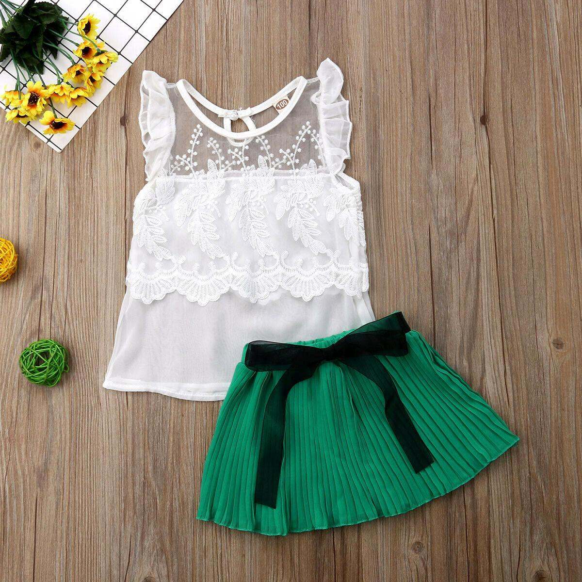 Emmababy Fashion 2pcs Girl Set 18M-5Y US Toddler Baby Girls Leisure Breathable Lace Short Top+Fashion Chiffon Skirt