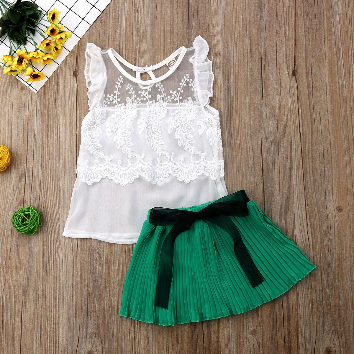 Girl Fashion Emmababy Set 18M-5Y États-Unis tout-petits bébés filles Loisirs respirant dentelle court + Top mode jupe en mousseline