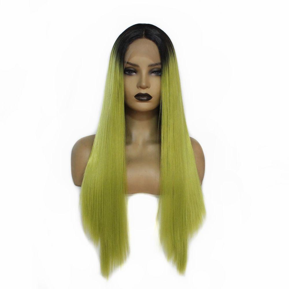 Raízes escuros das Natural da linha fina sintética dianteira do laço peruca longa mulheres heterossexuais Ombre Verde Cosplay peruca de cabelo resistente ao calor Fibre