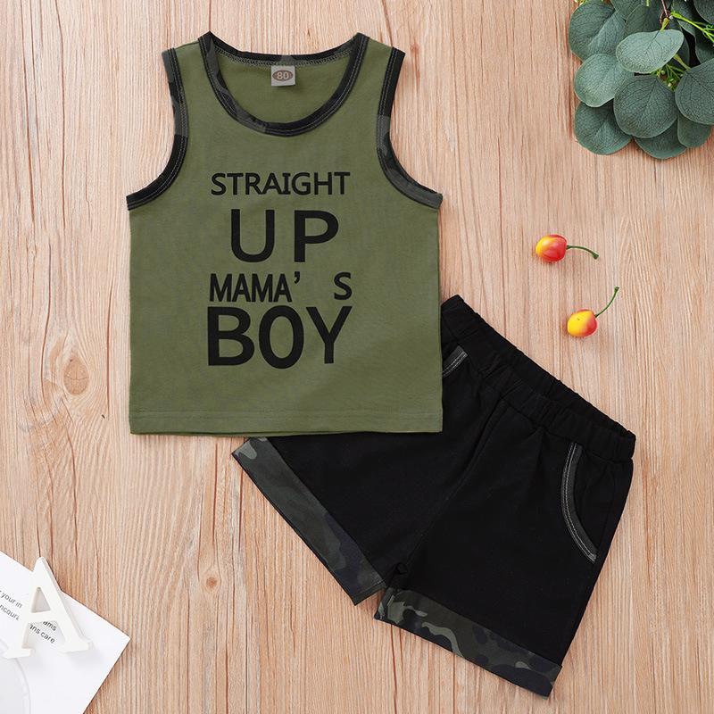 0-4T 어린이를위한 여름 새로운 원래 아기 소년 의류 세트 그린 색 조끼 검은 색 반바지 유아 소년 의류