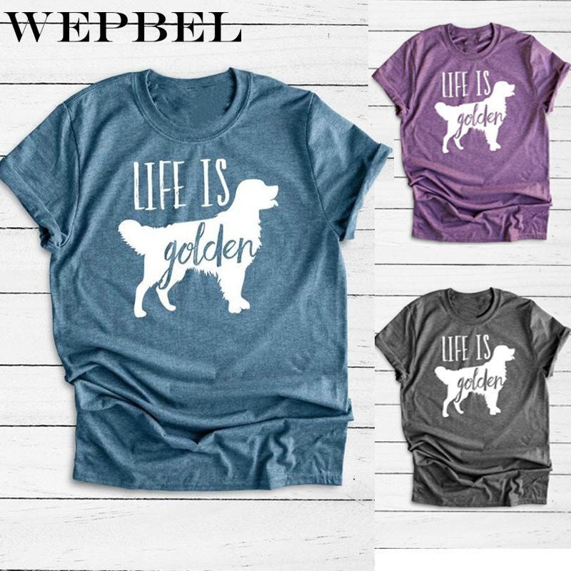 WEPBEL Женщины Новая мода рубашка Printed O-образным вырезом с коротким рукавом Футболка Сыпучие Вверх