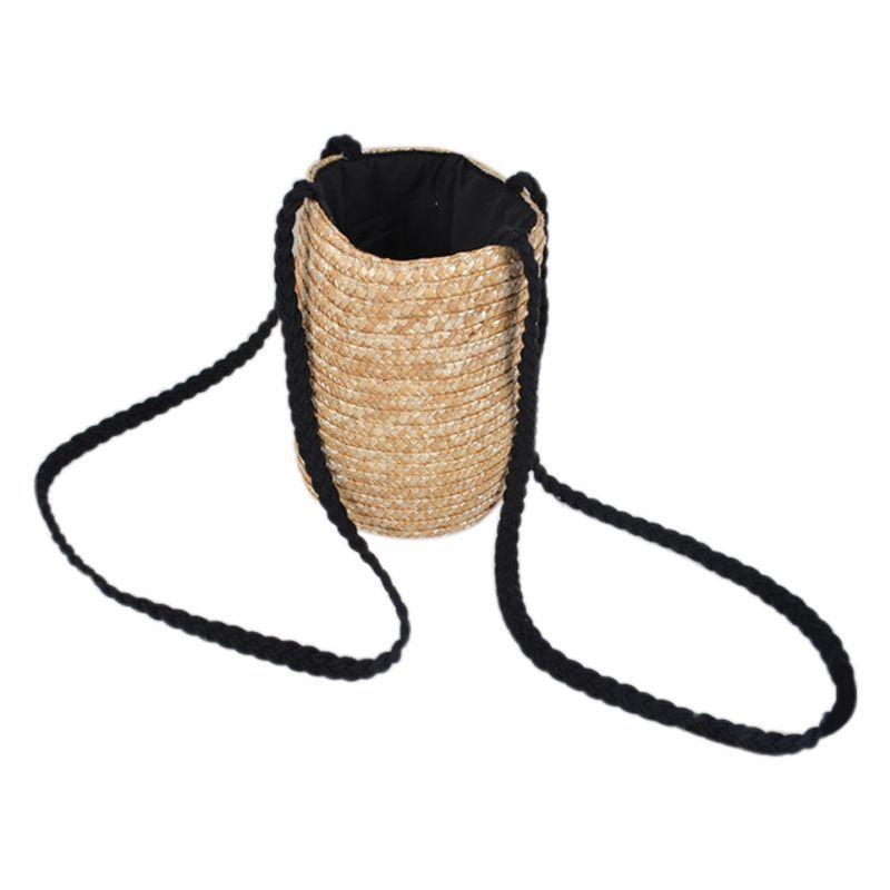 Seau cylindrique Sacs de paille de blé Bow paille tissée femmes Crossbody épaule sac fourre-tout à cordes (couleur primaire)