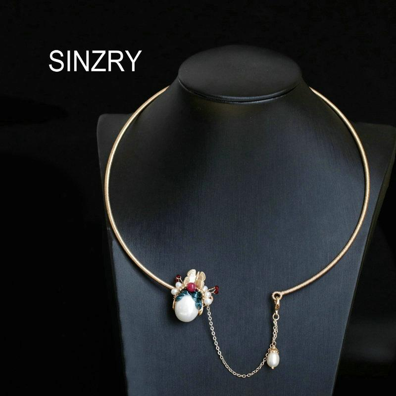 SINZRY original handmade ethnic vintage pearl peking facial mask chokers necklace band lady creative costume jewelry