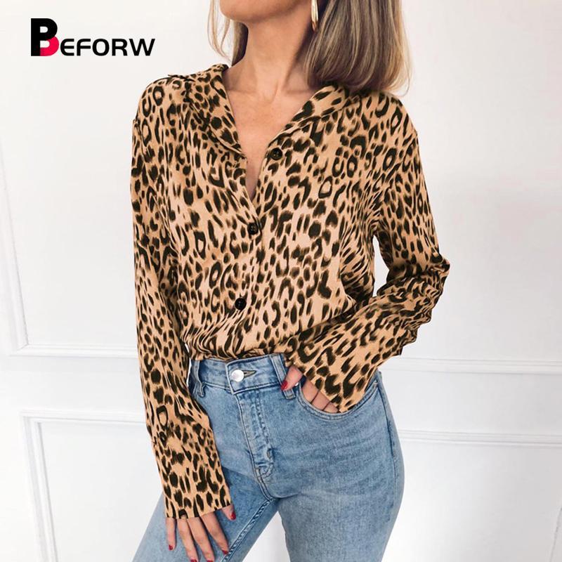 Moda Feminina Turn-Down Collar Manga Longa Estampa de Leopardo Chiffon Blusa Camisa Top Casual Solto Blusas Plus Size Camisas
