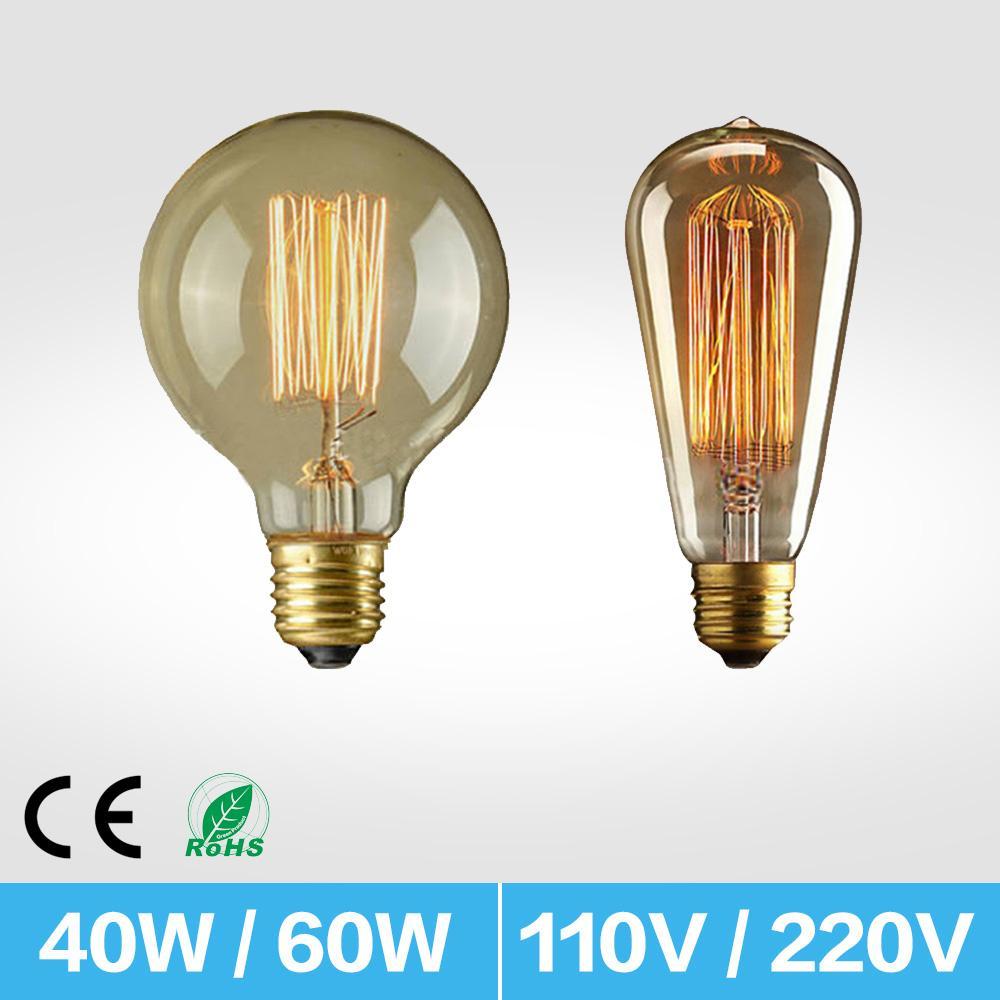 BRELONG E27 escurecimento ST64 40 W retro Edison tungstênio lâmpada de vidro transparente lâmpada incandescente gaiola de esquilo design AC220V AC110V