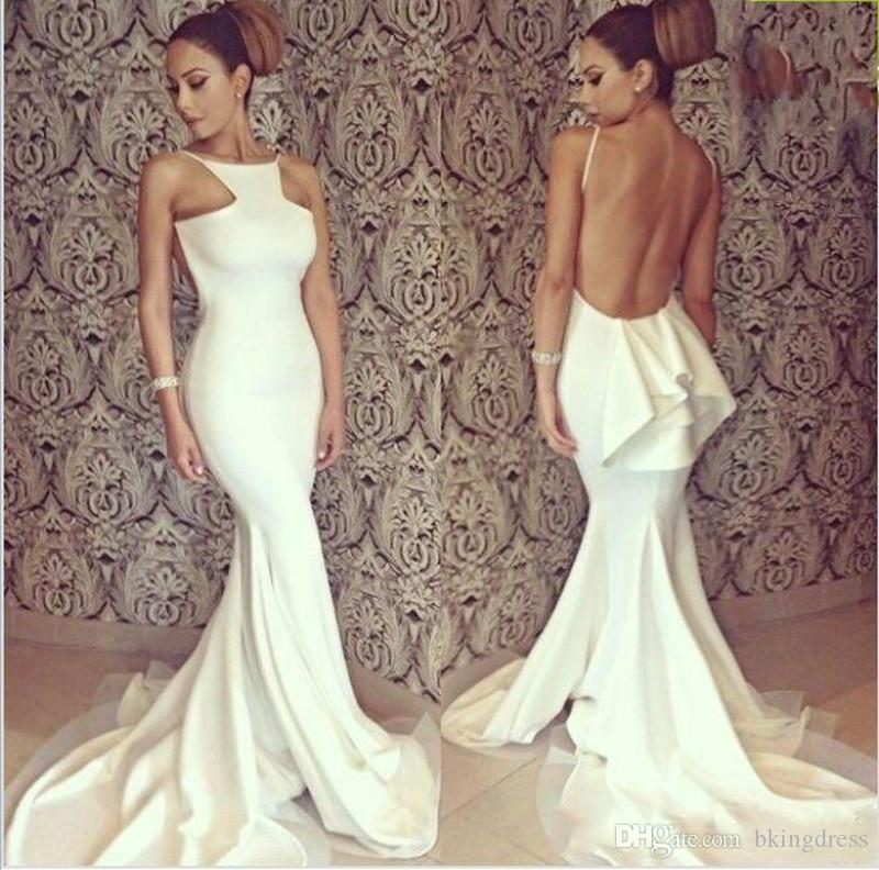 2020 Newest Formal Evening Dresses for Daughter and Mother Sexy Ivory Mermaid Backless Red Carpet Celebrity Dress Custom Made robe de soire