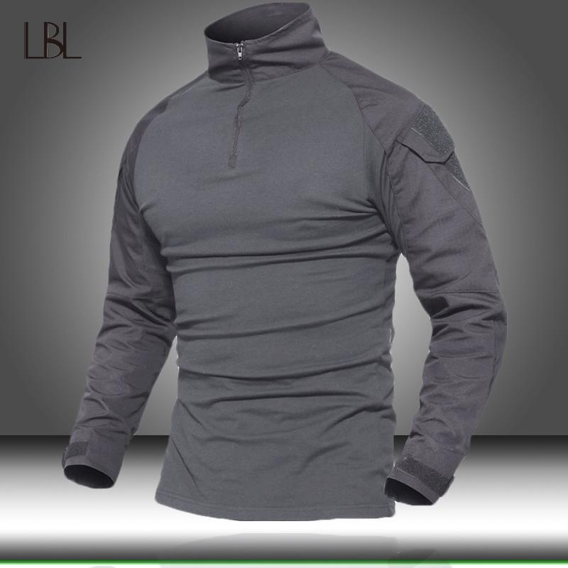 Camisas del Ejército de EE.UU. táctica militar Hombres camiseta de manga larga SWAT soldados de combate camiseta de Airsoft ropa de hombre para hombre transpirable Tee V200327