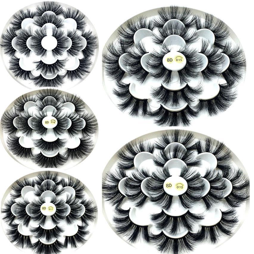 7 paires 3D Mink faux cils épais 25mm longs cils Wispy Fluffy main Outils de maquillage oeil pour la beauté