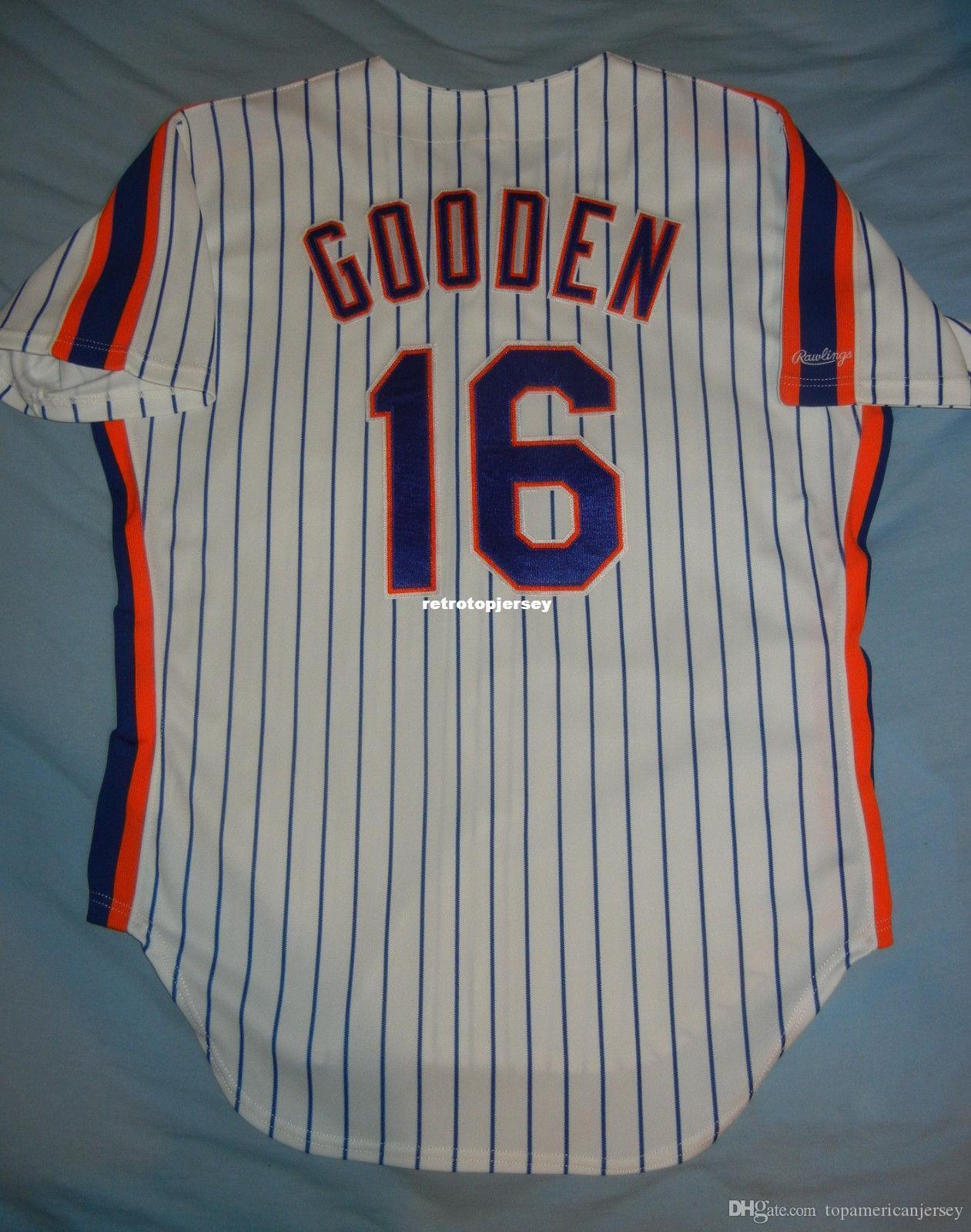 A buon mercato Retro Top Rawlings # 16 Dwight Doc Gooden Maglia NEW YORK NY gessata 1986 44 L maglie da baseball cucite uomo