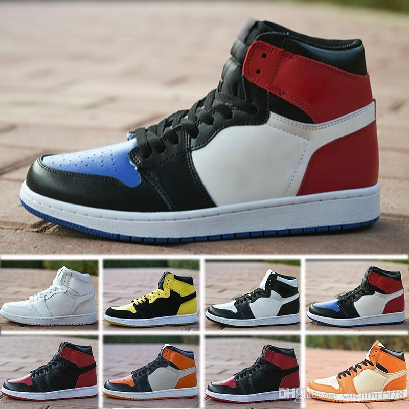 NIKE air Jordan 1 RETRO YENI tasarımcı ayakkabı 1 OG Basketbol Ayakkabıları Mens Chicago 1 S 6 yüzükler Sneakers Bred Toe Eğitmenler KADıN ORTA Yeni UNC Spor Ayakkabı boyutu 36-47