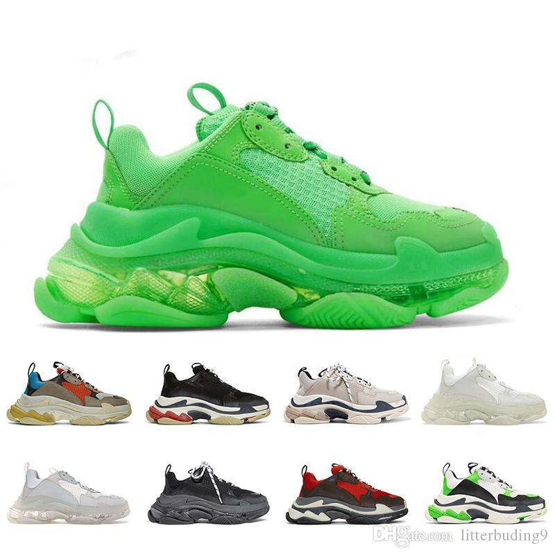 2019 Moda de Paris calçados casuais 17FW Triple-S pai por homens do desenhista Mulheres bege Ceahp Sports Luxo Triplo S Shoes Tamanho 36-45