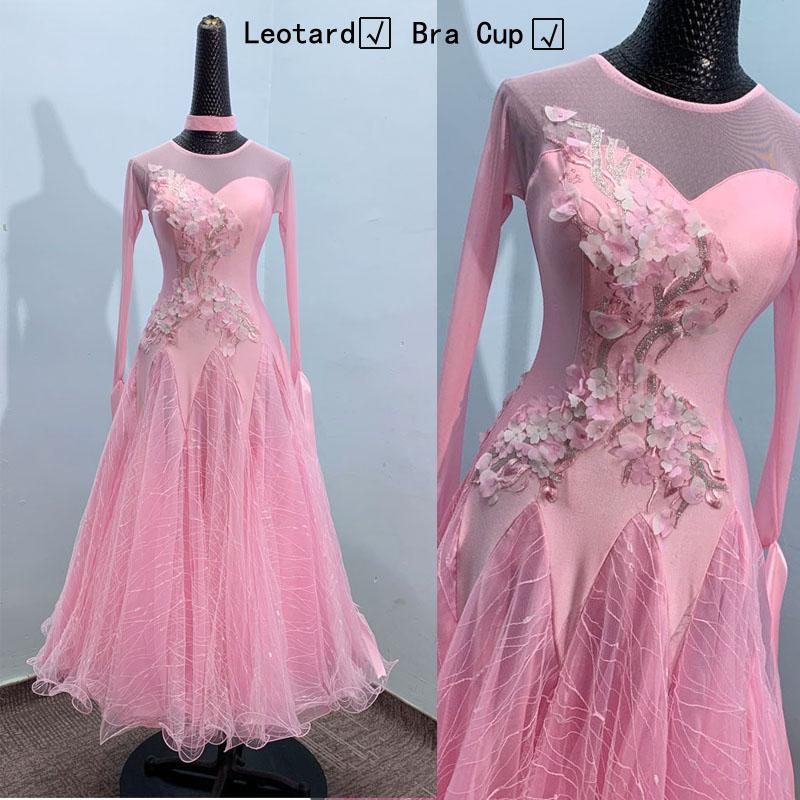 salle de bal robe de danse pour femme manches longues valse tango pratique vêtements dancewear intégré standard tasses Soutien-gorge rose Leotard