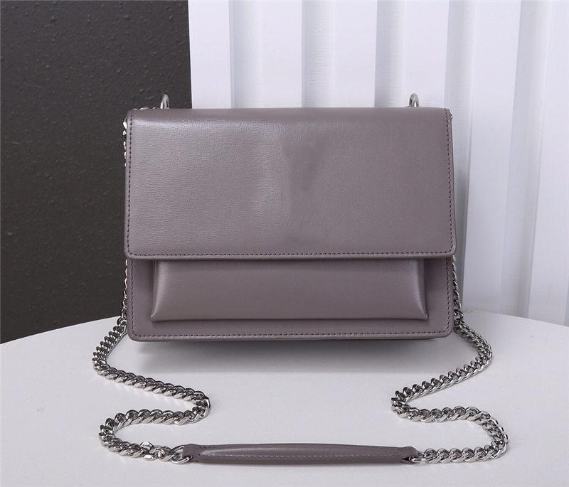 Handtaschen aus echtem Leder Metallkette Silber Handtasche echtes Leder Tasche Flip Cover diagonal Schultertasche mit Staubbeutel 22cm