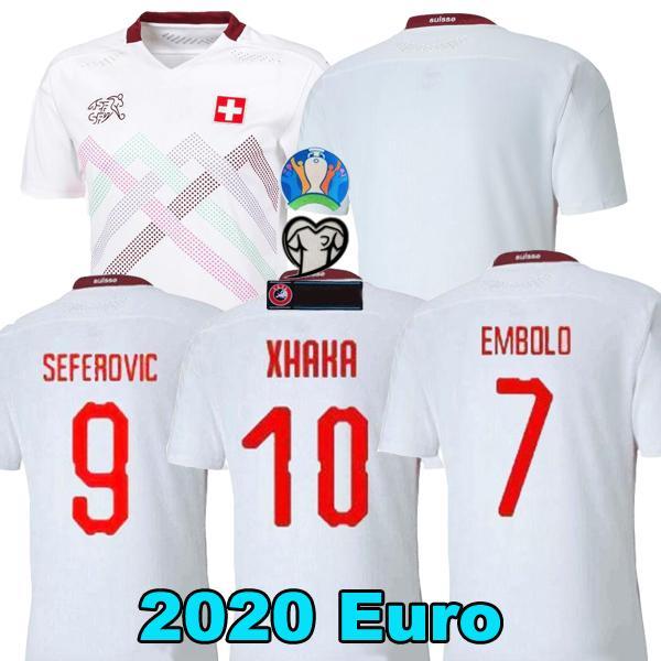 2020 camisas de futebol Suíça distância brancos 19 20 Switzerland Akanji Zakaria Rodriguez ELVEDI camisas da equipa de futebol nacional
