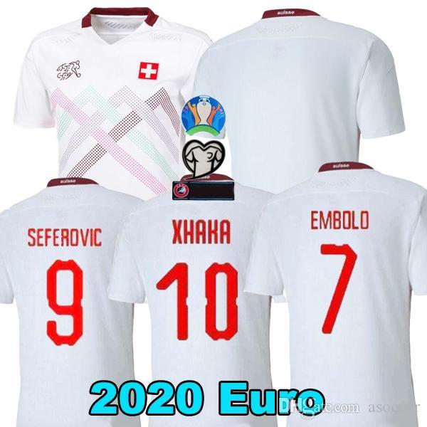 uzaklıkta 2020 İsviçre futbol formaları beyaz 19 20 İsviçre Akanji Zakaria Rodriguez ELVEDI milli takım formalarını