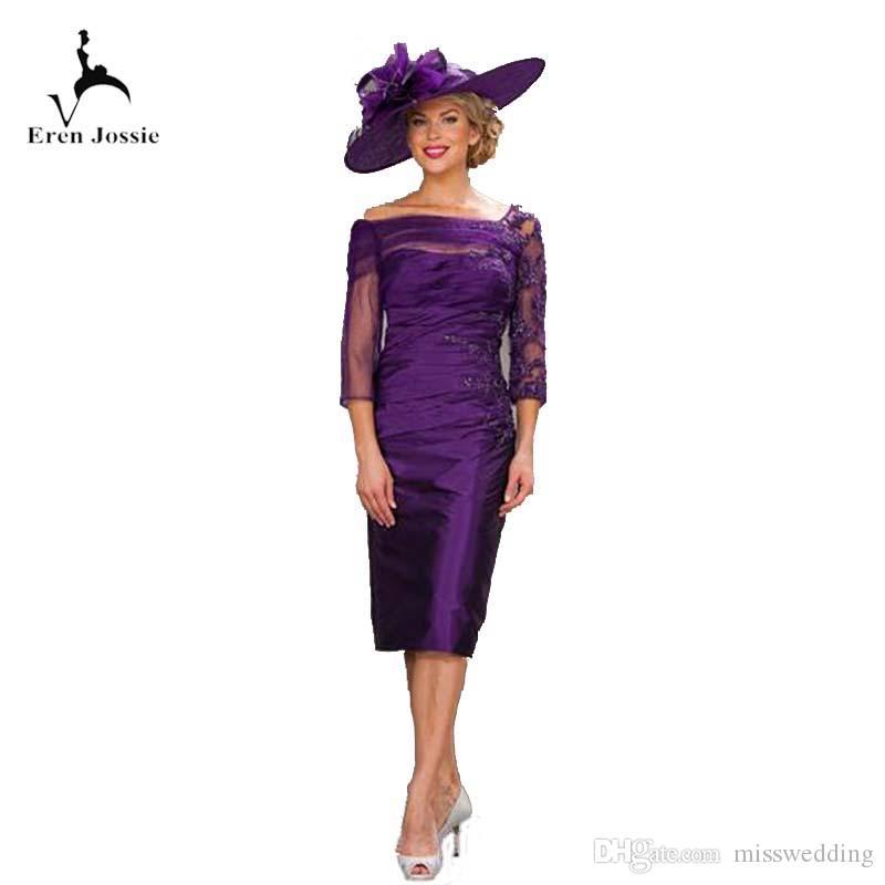Best Seller Knee Length Mother of Bride Dress Taffeta Women Dress Party With Appliques 3/4 Sleeve Madre del vestido de la novia