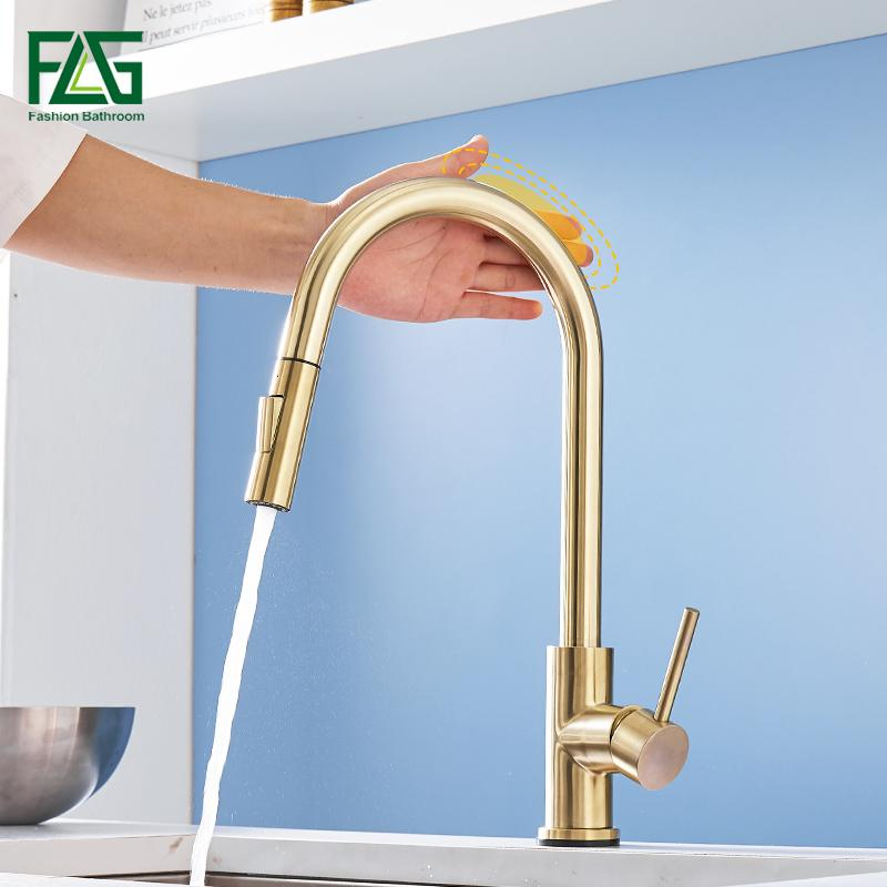 FLG Brushed Gold Touch Control Kitchen Faucets Smart Sensor Kitchen Tap Stainless Steel Touch Faucet Pull Down Sink Mixer Taps T200424
