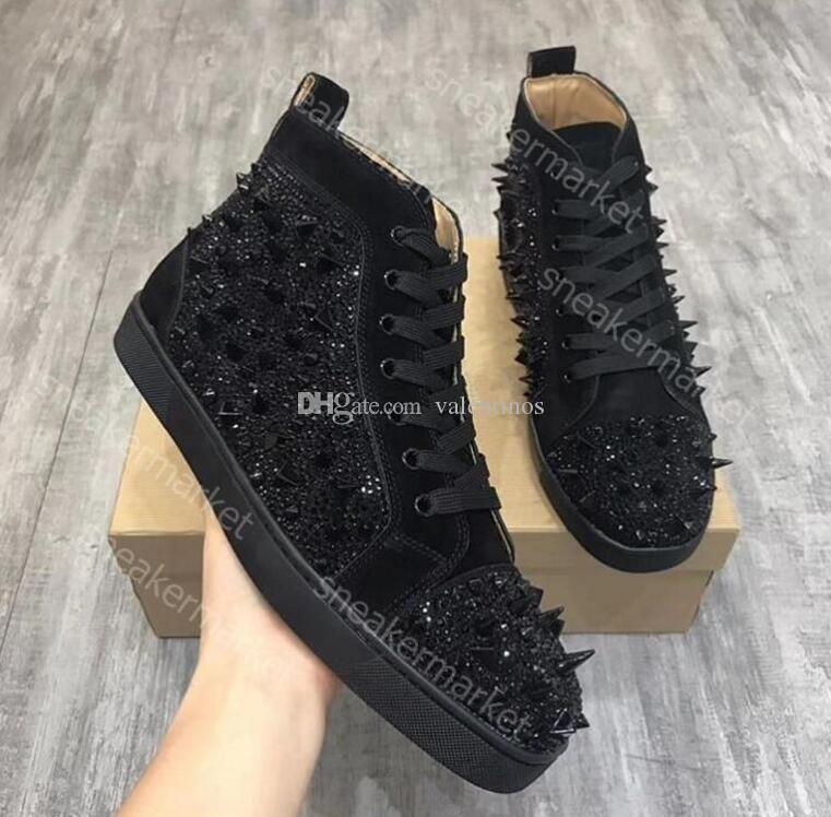 Cheap red bottom sneakers for men Luxury black suede with Crystal fashion casual mens womens shoes ,2016 Designer leisure trainers footwear