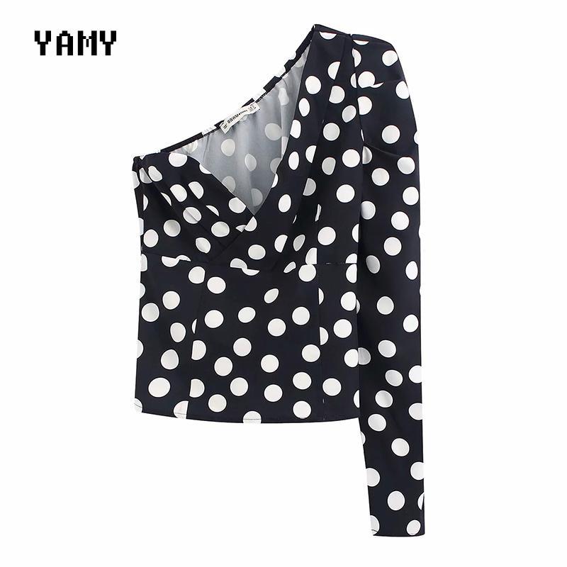 bolinhas imprimir uma manga das mulheres tops e blusas zora Vicky Feminino ombro frio Blusa Top Womens retro partido Tops 2020