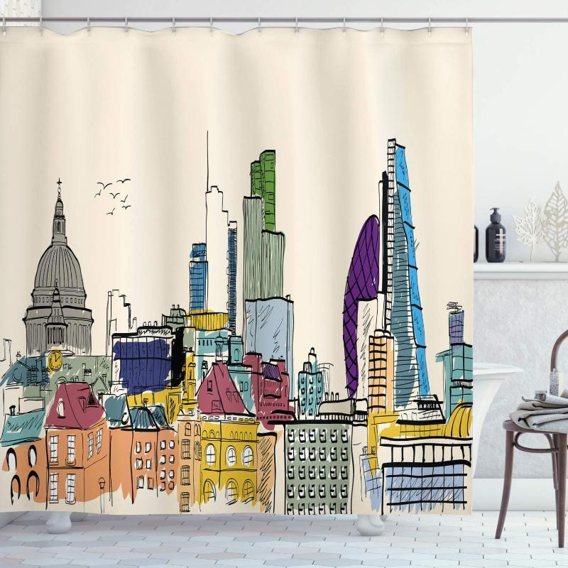 Landscape Shower Curtain Sketchy Hand Drawn Style City Scenery of London Buildings and Landmarks Image Bathroom Decor Set