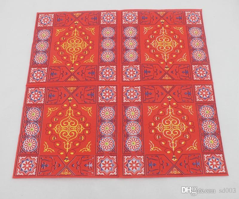 Fontes muçulmana Color Printing Guardanapos Cor Red Square Virgin polpa de madeira Ramadan Decoração guardanapo 2 do partido 1yb E1