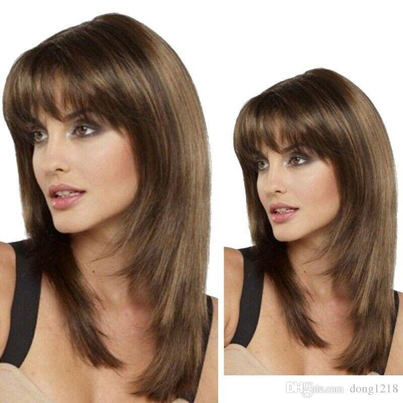 Haut naturel complet de perruque synthétique droite d'aspect naturel résistant à la chaleur pour femmes