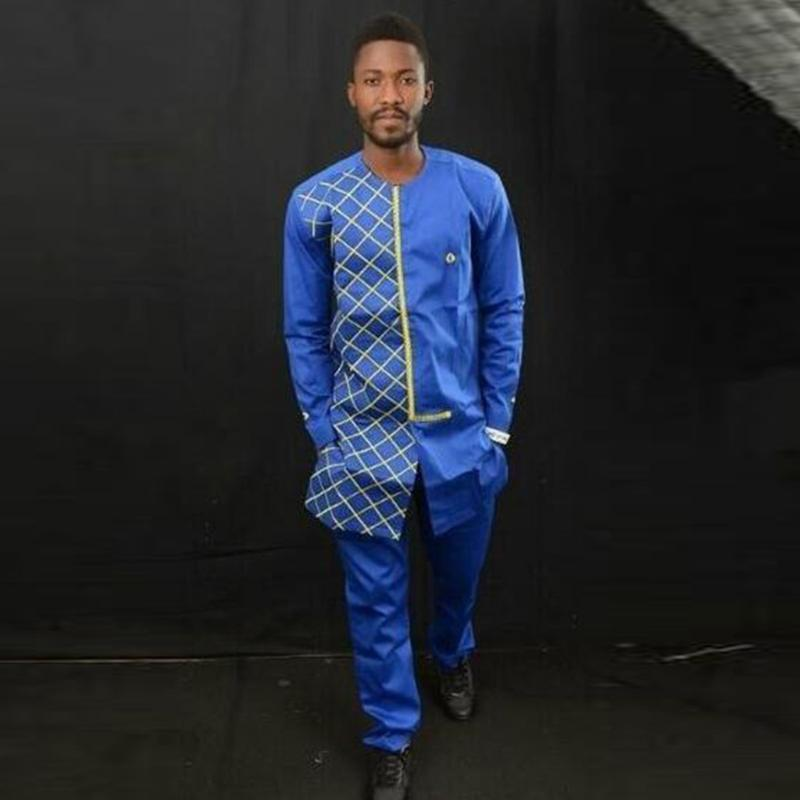 Men's Tracksuits Luxury African Traditional Print Long Sleeve Dashiki Shirt Suit Costume Style Clothes 2 Piece Set 1.17