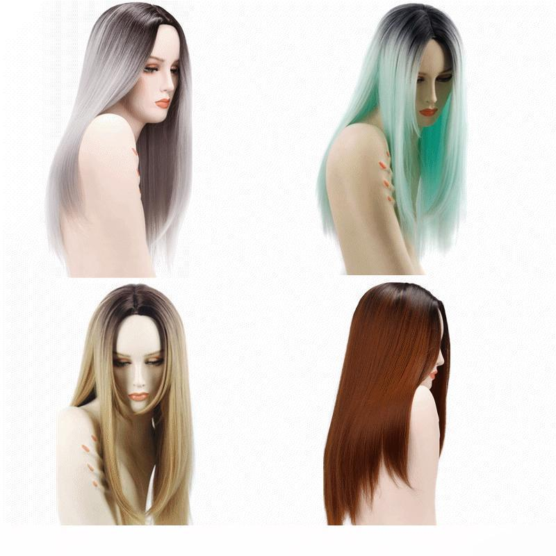 Synthetic hair wigss ombre color wigs 26inch Heat Resistant Fiber straight Cosplay synthetic hair products 4colors