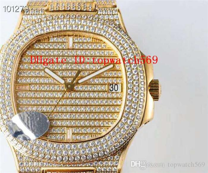 Top Extra-plano para hombre del reloj del diamante NAUTILUS 5719 del reloj del reloj mecánico automático suizo 324C 28800 vph zafiro de 18 quilates de acero 316L Oro