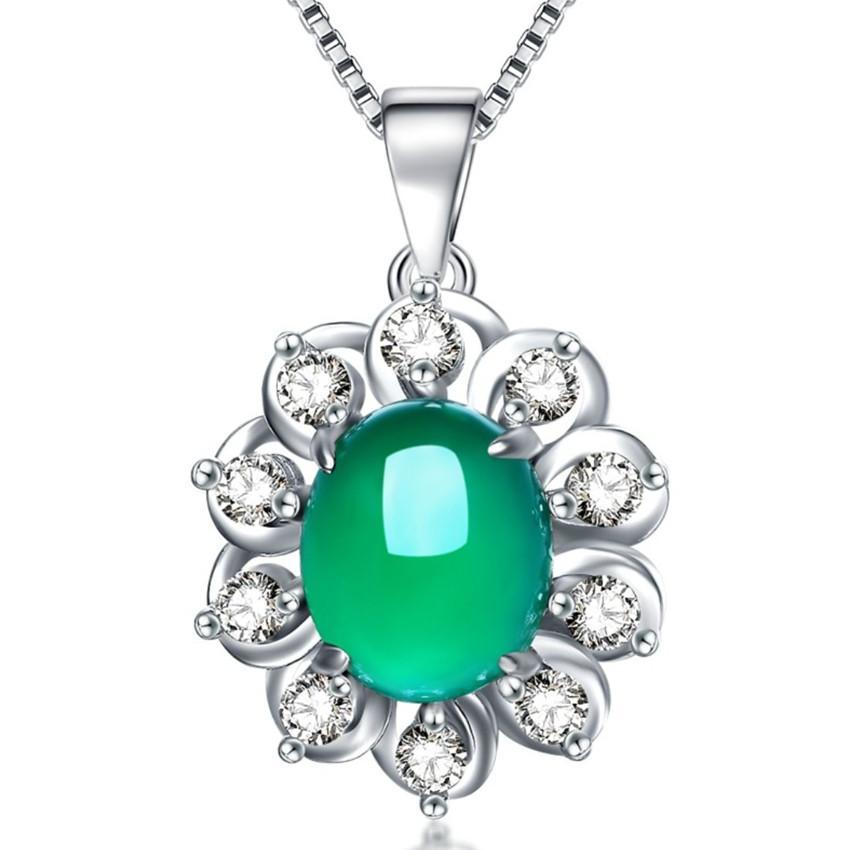 Оптовых 10 шт Посеребренного сердце любви розового кварц кулон ожерелье Цепочка для женщин Зеленый Агат ювелирных изделий